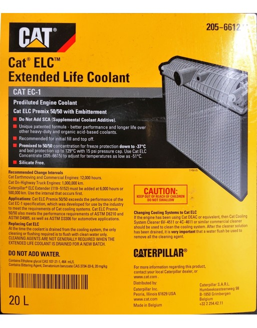 CAT Extented Life Coolant 205-6612 - 20L/5L - Fast Delivery - Low prices  Volume 5 Liters / 1 3 Gallon